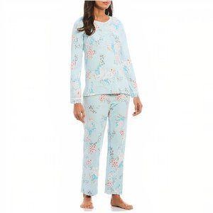 Miss Elaine Waffle Pajama Set~Aqua Large